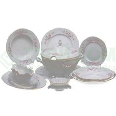 Сервиз Concordia Bernadotte декор Бледные розы отводка платина 67 предметов 12 персон