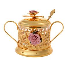Сахарница с ложечкой и розочкой золотая Marquis