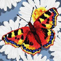 Алмазная мозаика Белоснежка Бабочка на ромашках
