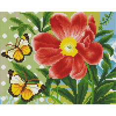 Алмазная мозаика Белоснежка Бабочки и цветок