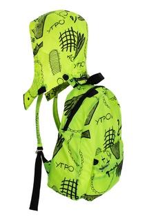 Лаймовый рюкзак с черными рисунками LU Kids