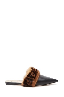 Черные мюли с меховой отделкой Fendi