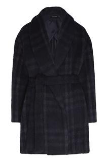 Темно-синее пальто в клетку Low Classic