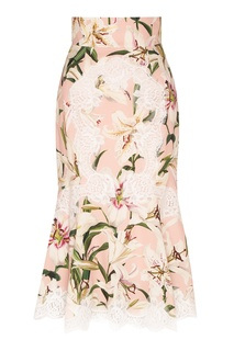 Розовая юбка-миди с кружевом и рисунком Dolce&Gabbana