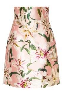 Розовая юбка-мини с цветочным рисунком Dolce&Gabbana