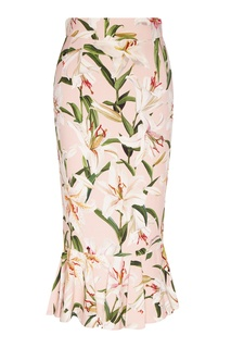 Розовая юбка-годе с рисунком Dolce&Gabbana