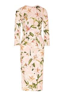 Розовое платье-макси с рисунком Dolce&Gabbana