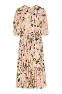 Розовое платье-макси с цветочным рисунком Dolce&Gabbana