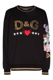 Черный джемпер с логотипом и рисунком Dolce&Gabbana