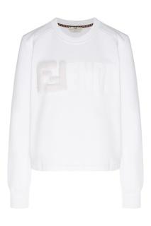 Белый свитшот с меховой аппликацией Fendi