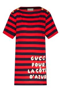 Полосатая футболка с надписью Gucci