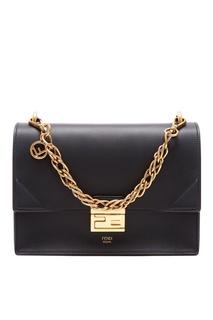 Черная кожаная сумка Kan U Fendi