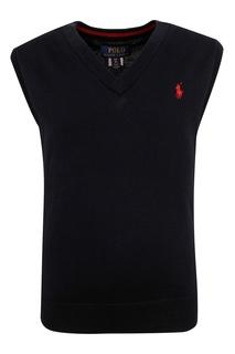 Черный жилет с вышитым логотипом Ralph Lauren Kids