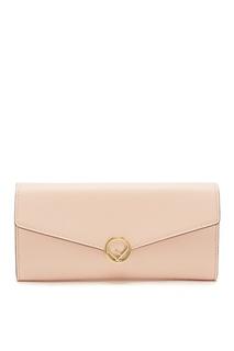 Розовый кошелек с клапаном и монограммой Fendi