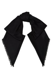 Черная шаль с фактурной отделкой Fendi