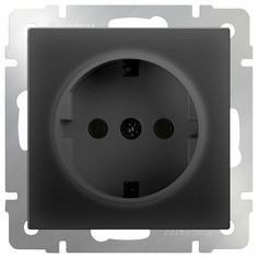 Розетка с заземлением без рамки Черный матовый WL08-SKG-01-IP20 Werkel