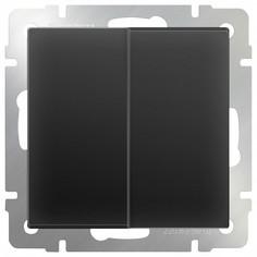 Выключатель двухклавишный без рамки Черный матовый WL08-SW-2G Werkel