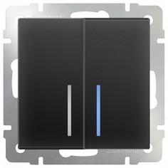 Выключатель двухклавишный с подсветкой без рамки Черный матовый WL08-SW-2G-LED Werkel