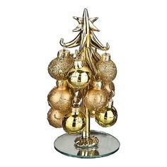 Ель новогодняя с елочными шарами (15 см) ART 594-108