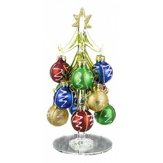 Ель новогодняя с елочными шарами (15 см) ART 594-045