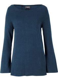 Пуловеры с круглым вырезом Пуловер с расклешенным рукавом, сзади на пуговицах Bonprix