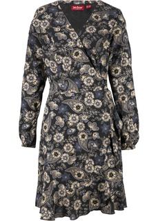 Короткие платья Платье с эффектом запаха, длинный рукав Bonprix