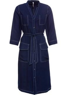 Платья с длинным рукавом Платье джинсовое с контрастными швами Bonprix