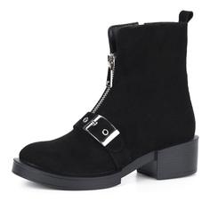 Ботинки Черные велюровые ботинки с пряжкой Respect