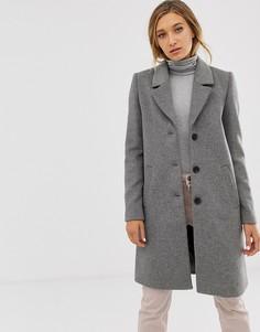 Шерстяное пальто на пуговицах Selected - Серый