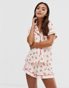 Пижама с принтом бургеров Chelsea Peers - Розовый