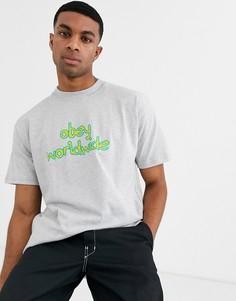 Серая футболка с логотипом на груди Obey Festival - Серый