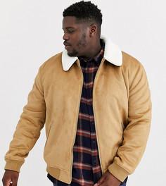 Куртка Харрингтон песочного цвета с воротником из искусственного меха River Island Big & Tall - Рыжий