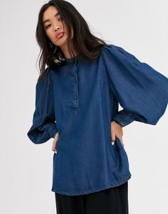 Джинсовая блузка с пышными рукавами Selected Femme - Синий