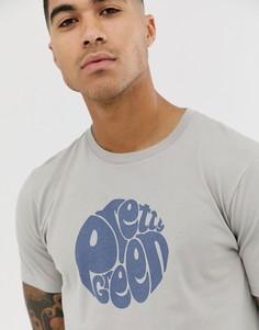 Серо-бежевая футболка с логотипом Pretty Green - Серый
