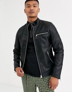 Черная куртка из искусственной кожи Bershka - Черный