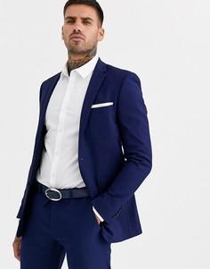 Синий облегающий костюм Burton Menswear - Темно-синий