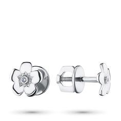 Пусеты из серебра с бриллиантами п06с031527 ЭПЛ Якутские Бриллианты