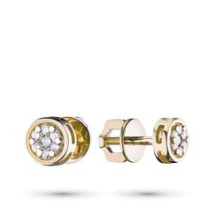 Пусеты из желтого золота с бриллиантами п03с121527 ЭПЛ Якутские Бриллианты