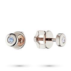 Пусеты из красного золота с бриллиантами п02с121511 ЭПЛ Якутские Бриллианты
