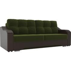 Прямой диван АртМебель Браун микровельвет зеленый, экокожа коричневый