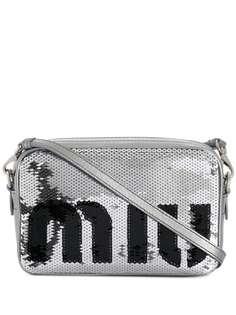 Miu Miu сумка через плечо с логотипом и пайетками
