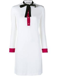 Gucci платье-шифт с длинными рукавами