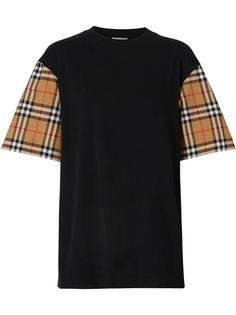 Burberry футболка оверсайз с рукавами в клетку Vintage Check