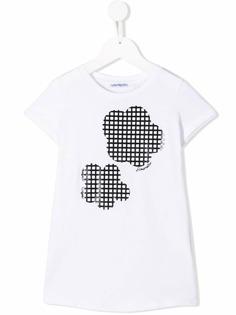 Simonetta футболка с фактурным принтом в клетку