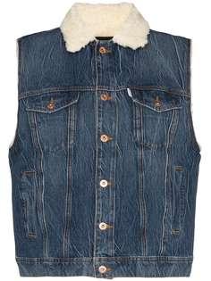 Filles A Papa джинсовая куртка без рукавов с овчиной