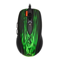 Мышь A4 XL-750BK, игровая, лазерная, проводная, USB, зеленый и черный [xl-750bk u (gfire)]