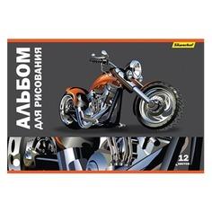 Альбом для рисования Silwerhof 911142-34 12л. A4 Мотоциклы 2диз. картон скрепка 10 шт./кор.