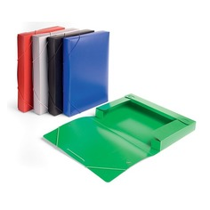 Папка-короб на резинке Бюрократ -BA40/07BLUE пластик 0.7мм корешок 40мм A4 синий 25 шт./кор.