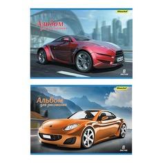 Альбом для рисования Silwerhof 911140-14 8л. A4 Машины 2диз. картон скрепка 10 шт./кор.