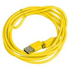 Кабель Happy plug, micro USB B (m), USB A(m), 2м, желтый [00153248] Noname